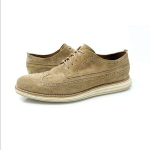 Cole Haan Grand OS Tan Suede Wingtip Oxford Shoes